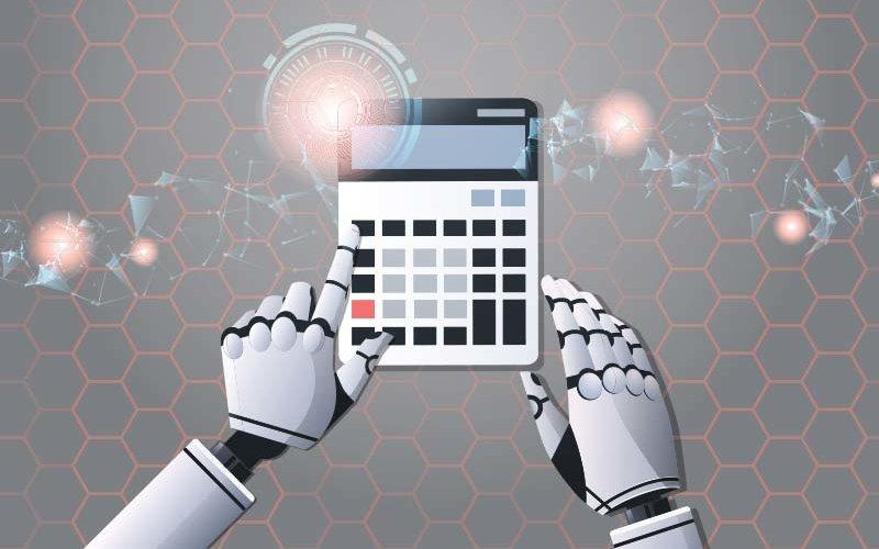 robot accountant using calculator