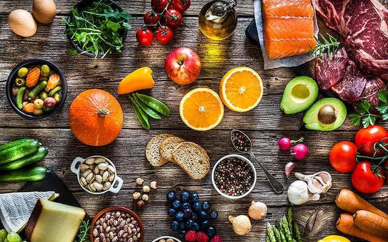 Food arranged on table.