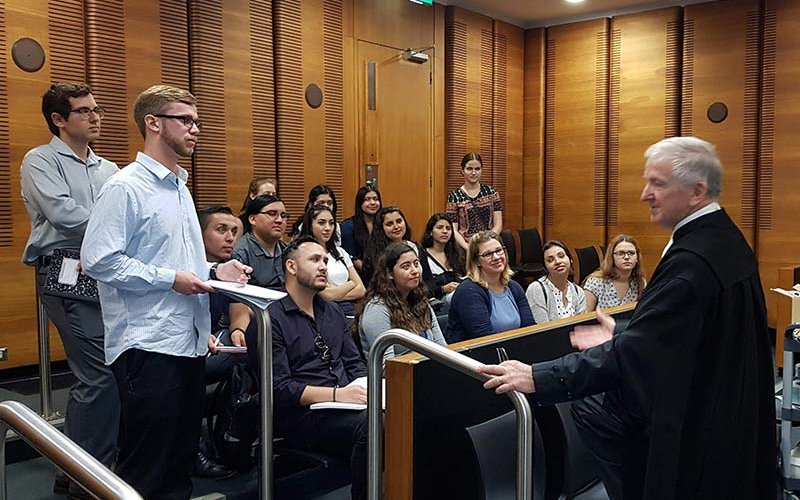 CSUF Study Abroad students in Australian courtroom