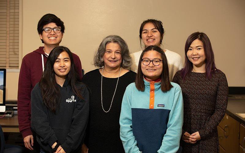 Barbara Gonzalez with students