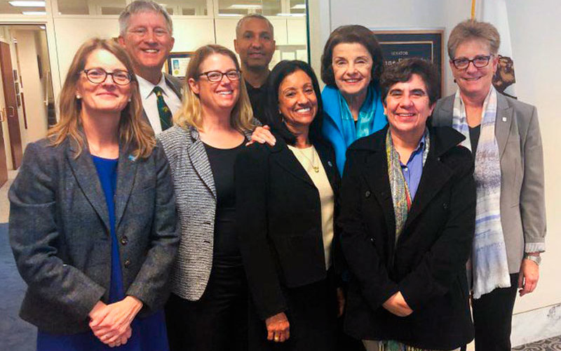 Susan Barua, dean of the College of Engineering and Computer Science, poses with other CSU deans and Sen. Dianne Feinstein