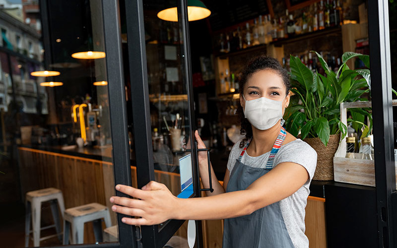 Business Worker with Face Mask