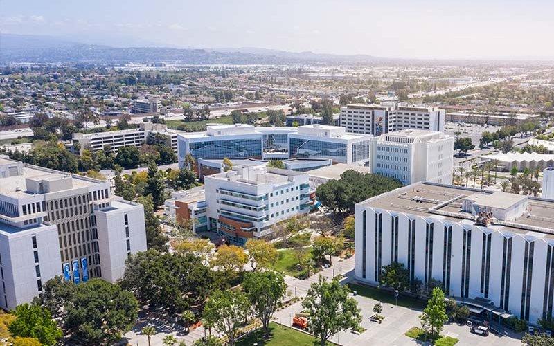 Aerial image of the CSUF campus.