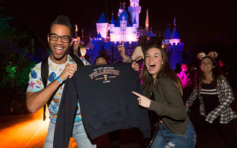 Students and Alumni at CSUF Disneyland Night
