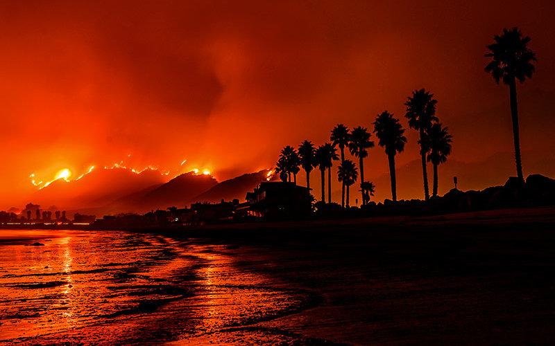 Santa Barbara fires rage next to the coast.