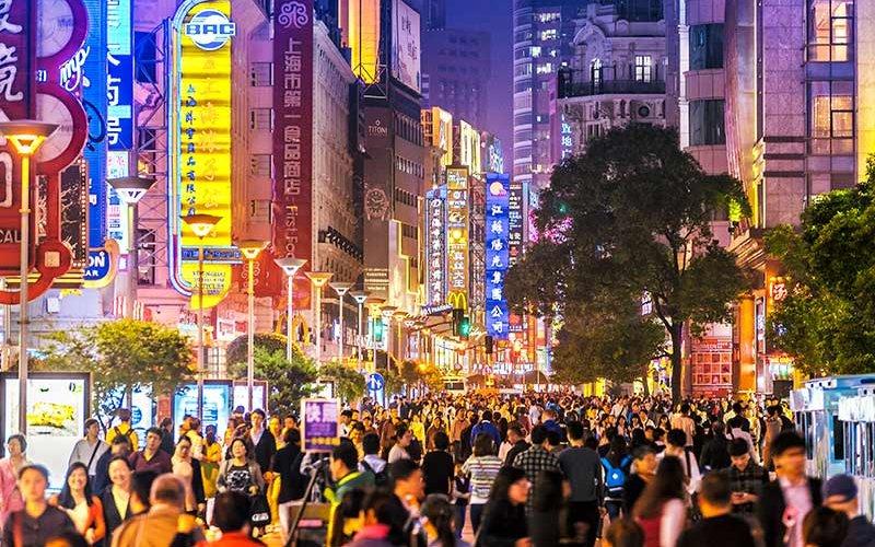 Chinese city night street scene.