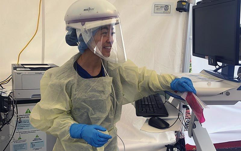 Christine Vu in PPE gear