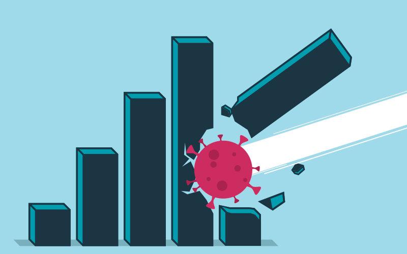 Illustration of corona virus destroying economy.