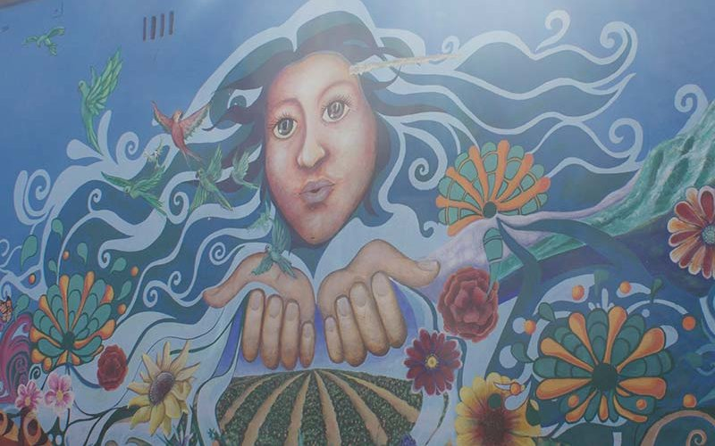 Colorful public mural painted on wall in Santa Ana