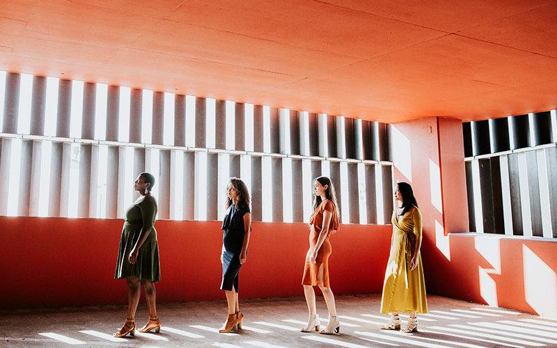 Women in dresses.