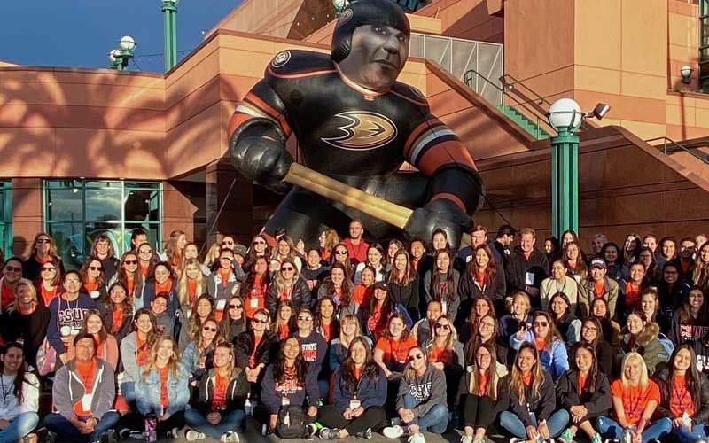 CSUF teacher candidates work with children at Anaheim Ducks' field trip for elementary students..