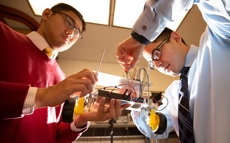 Engineering Students work on project.