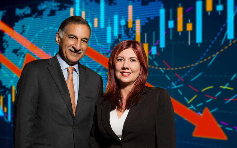 Anil Puri and Mira Farka with economic illustration background.
