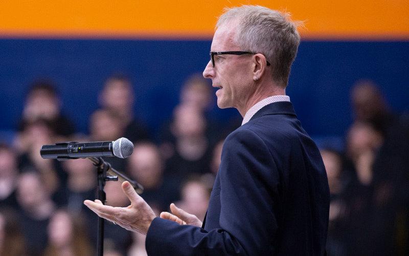 Matt Englar Carlson giving lecture