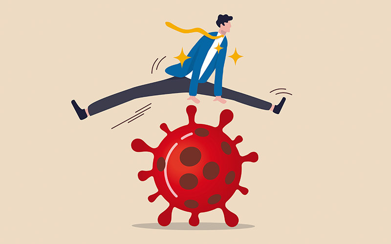 Illustration of business person jumping over a virus.