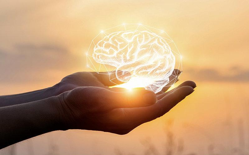 Hands holding a digitial brain illustration.