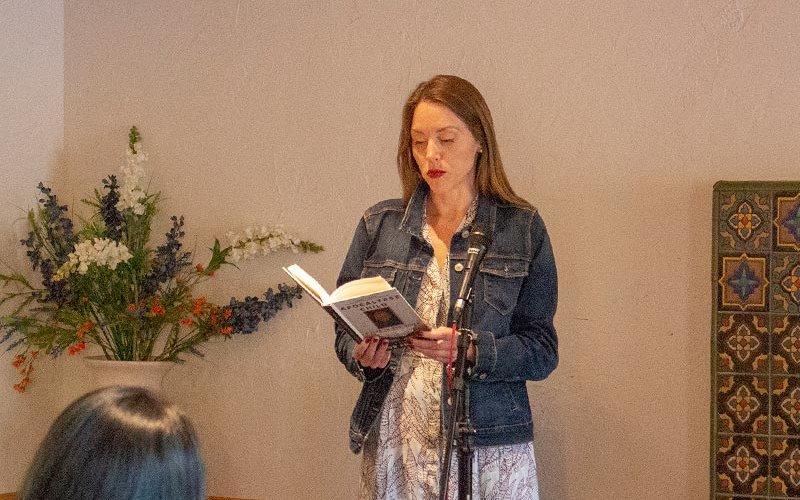 Flor Edwards reading her book