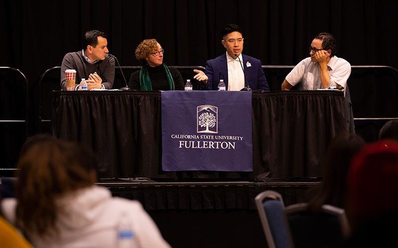 Panelists Anthony Rendon, Elaine Margaret Lewinnek, Patrick Nguyen, and Gustavo Arellano.