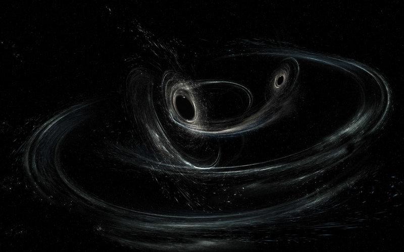 Artist illustration of spiraling black holes