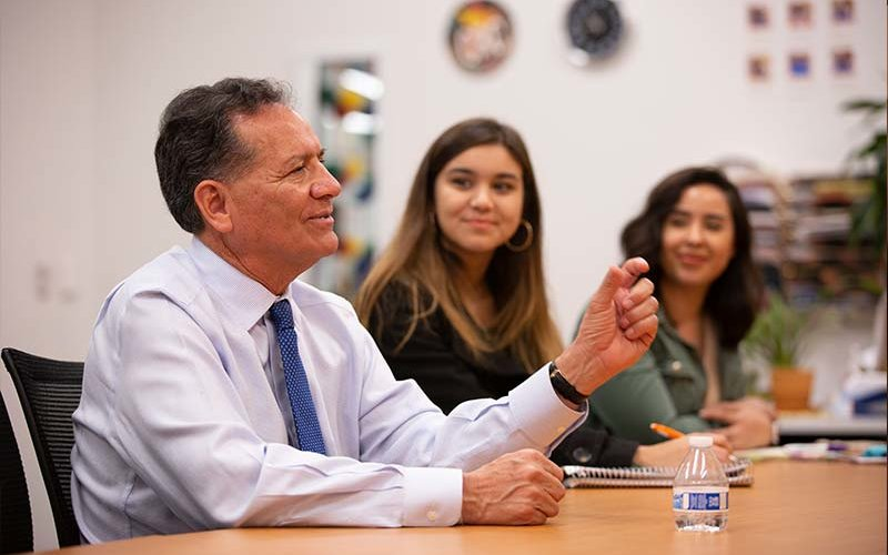 George Pla speaking to students