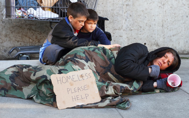 Homeless mother with two children.