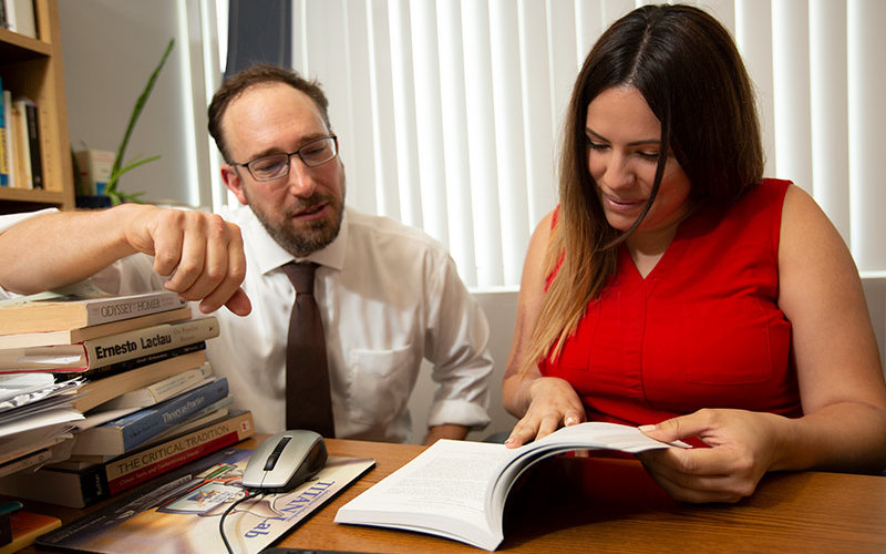 Jessica Lombardo works with faculty mentor.