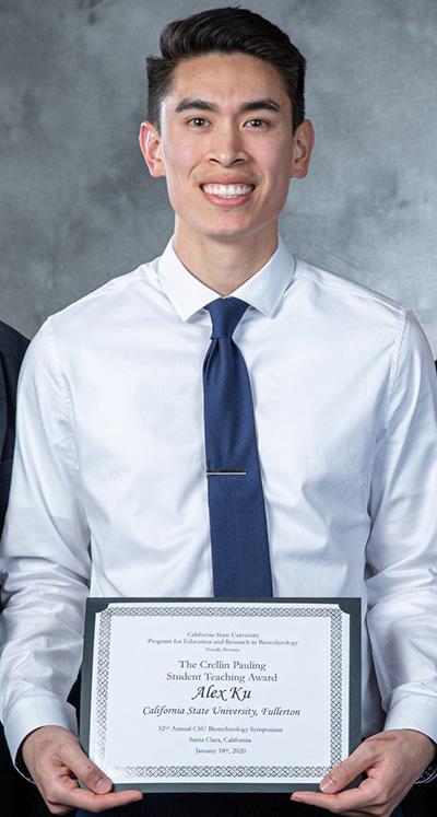 Alex Ku with his teaching award