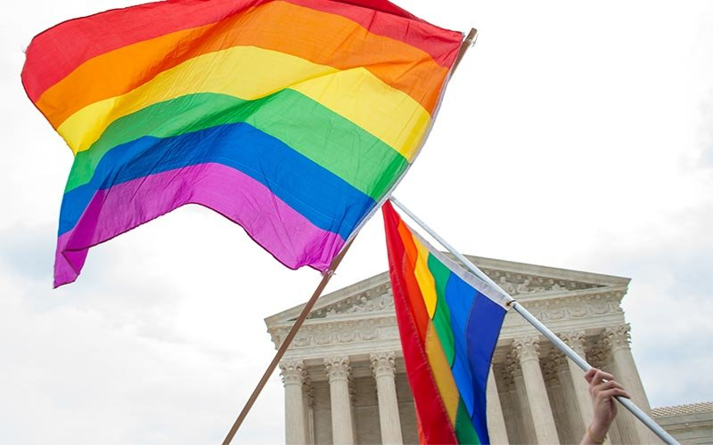 LGBTQ pride flags fly at the U.S. Supreme Court