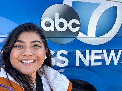 Xochilt Lagunas with News Van