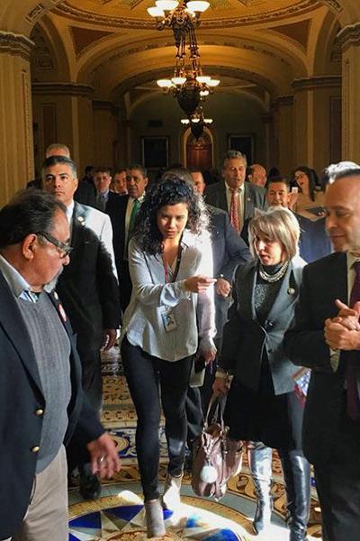 Laura Barron Lopez interviews congress members on Capitol Hill.