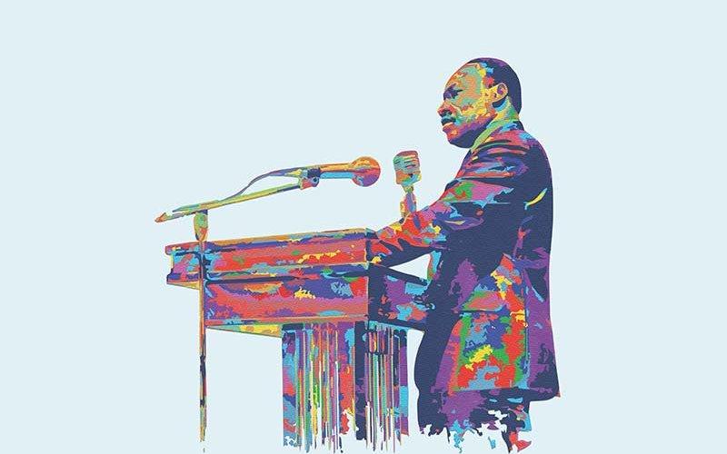 Illustration of Martin Luther King Jr. standing at podium
