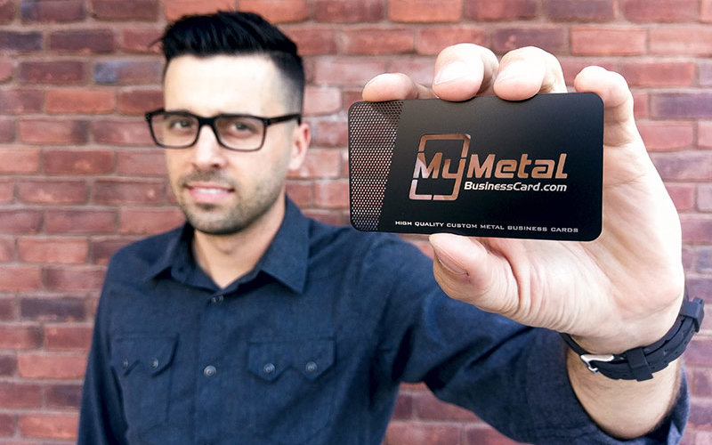 Entrepreneur with Metal Business Card