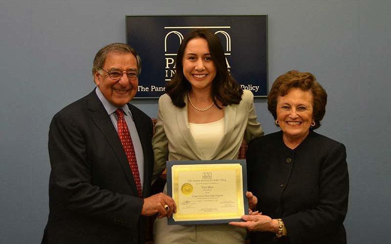 Leon Panetta, CSUF student Tori Hust, and Sylvia Panetta