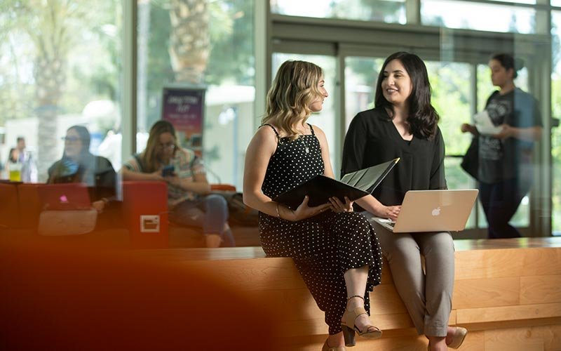Students discuss research while sitting with laptop