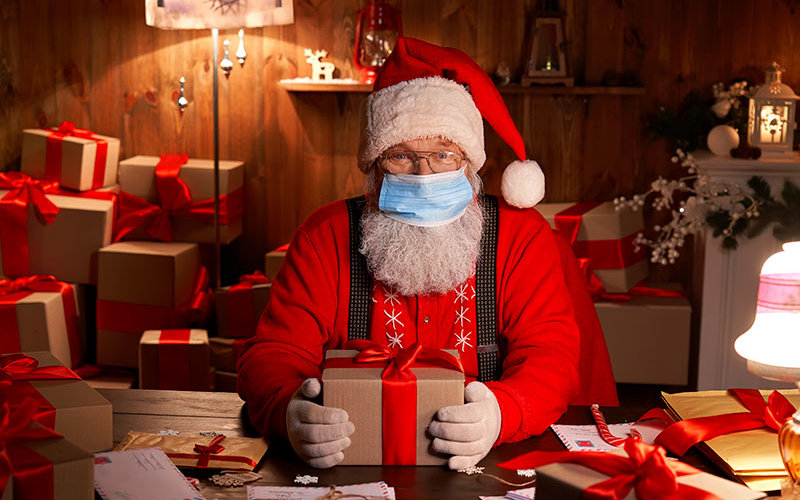 Santa Claus with COVID-19 Face Mask