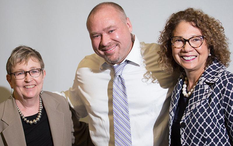 Emily Bonney, Jason Shepard, President Mildred García