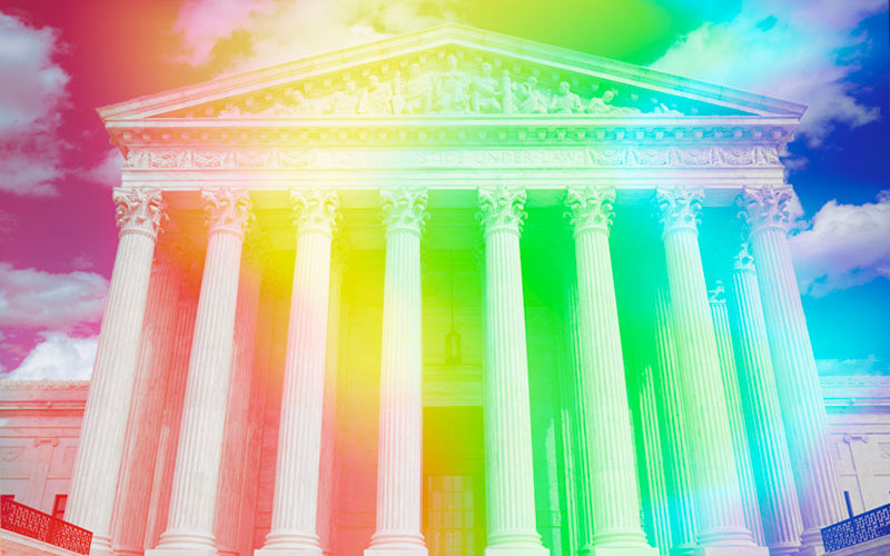 Supreme court with LGBTQ overlay.