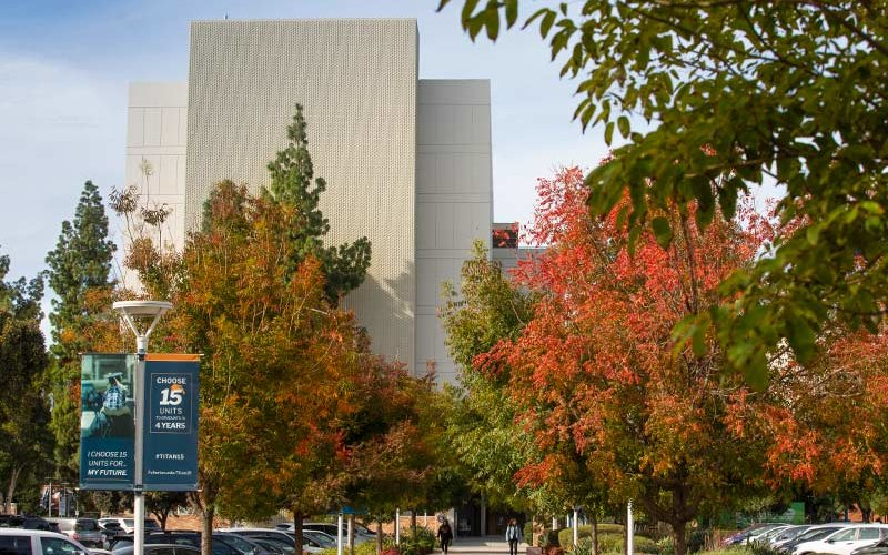 Fall leaves in front of CSUF Humanities building.