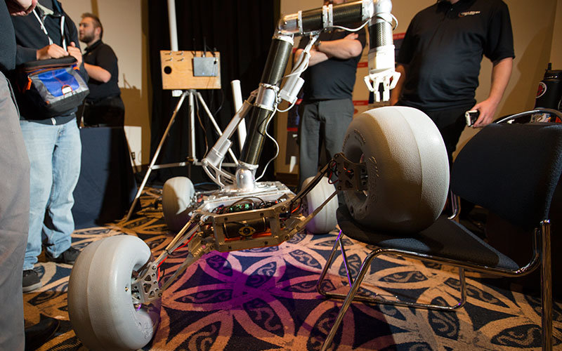 Prototype of Mars rover on display.
