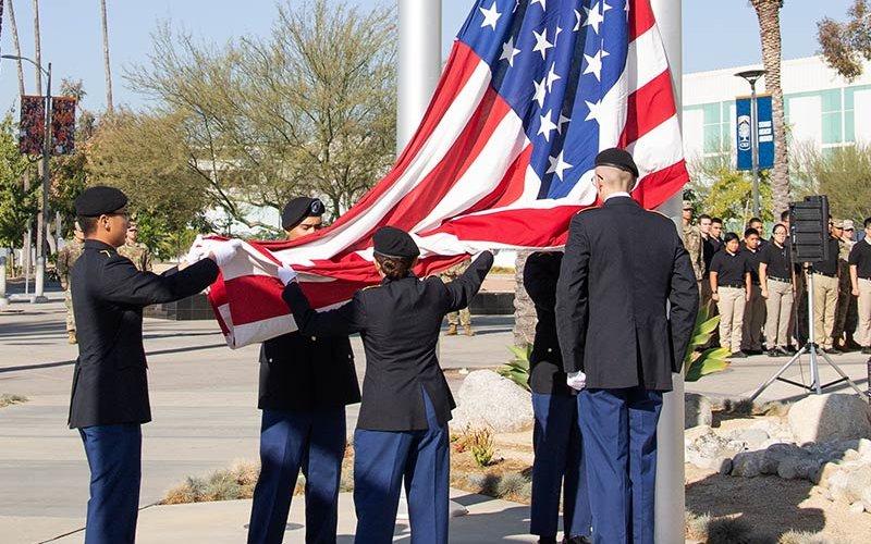 ROTC Cadets raise U.S. Flag