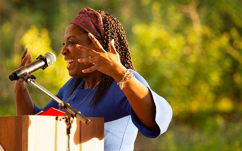 Charlesetta Medina delivers the 2019 Women's History Month keynote address.