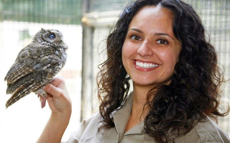 Zoologist holding an owl