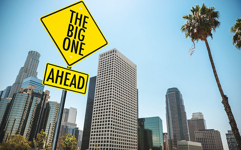 A sign of the 'The Big One' in downtown Los Angeles