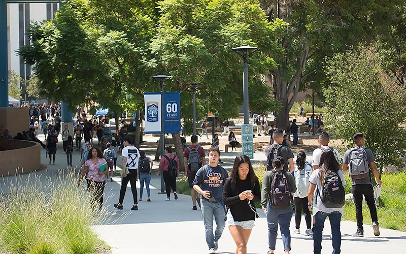 Students walking on CSUF campus.