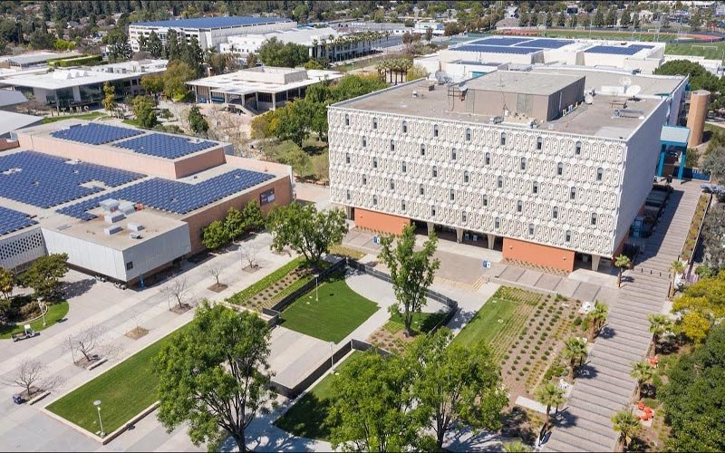 Aerial view of Pollak Library