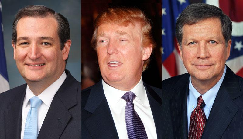 Ted Cruz, Donald Trump, and John Kasich