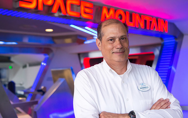 Darrell Jodoin in front of Space Mountain at Disneyland.