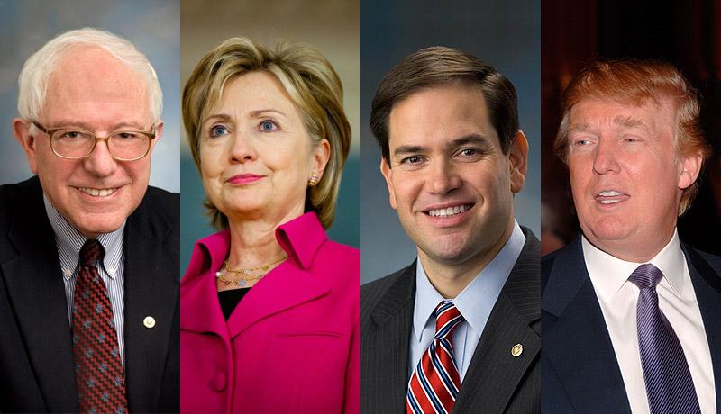 Bernie Sanders, Hillary Clinton, Marco Rubio and Donald Trump