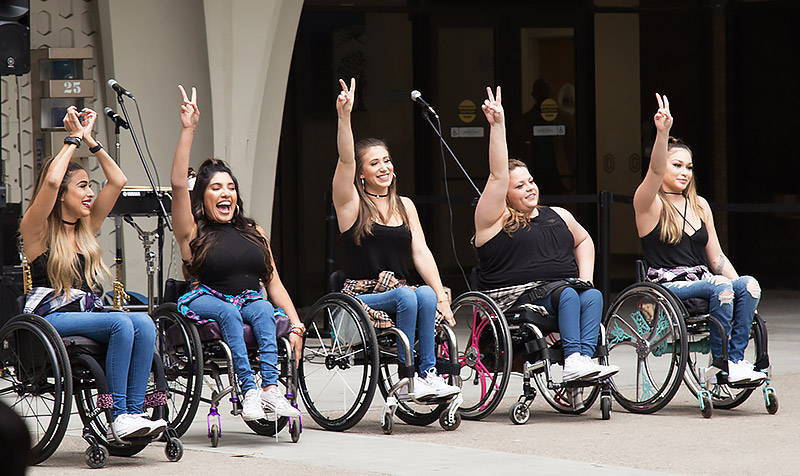 The Rollettes performing on campus.