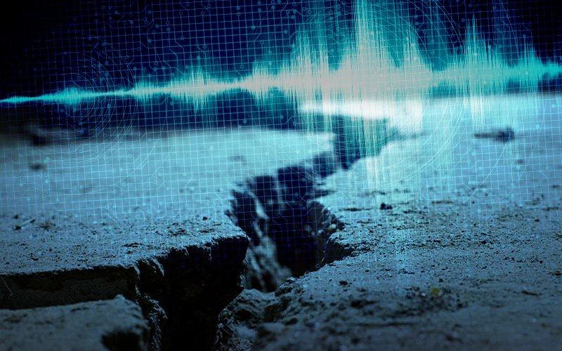 Seismogram composite over earthquake damage